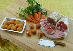 1:12 Scale Miniature Meats and Veggies (Shay Aaron) Tags: food house scale kitchen miniature bacon doll handmade beef aaron fake mini ham meat onions polymerclay fimo tiny lamb faux shay carrots chops 12th 112 dollhouse petit bucher twelfth           shayaaron    preparationboard  lagoflamb