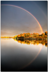 Rainbows have reflections? (moe chen) Tags: trees reflection fall water rain river rainbow maine sigma brunswick foliage moe 1020mm chen androscoggi