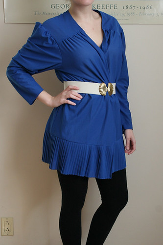 Open Royal Blue Pleated Tunic or Mini Dress ANY SIZE