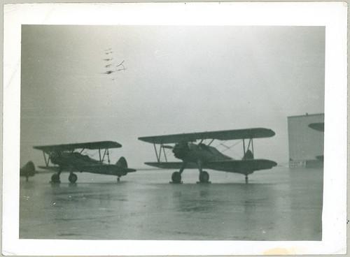 Biplanes in the rain