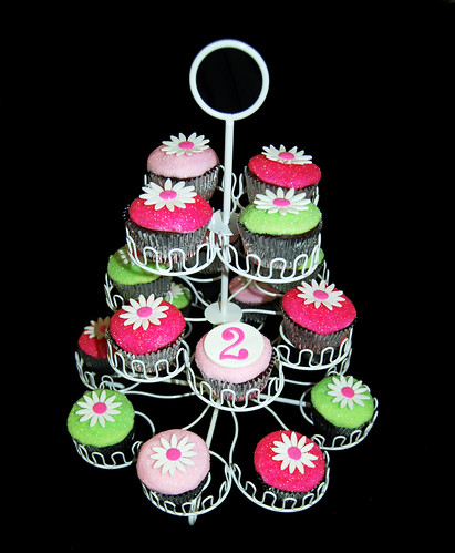 Glittery Pink and Green Daisy 2nd Birthday Cupcakes