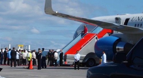 Hillary arrives