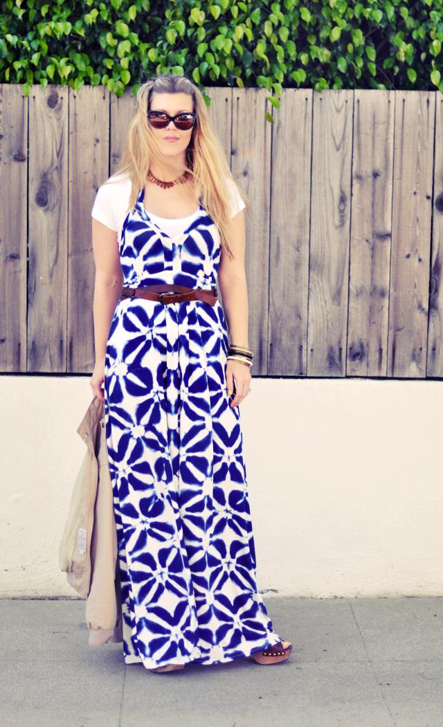 Banana Republic blue and white print maxi dress