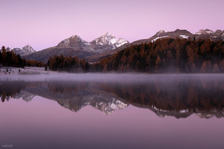 Peaceful Daybreak At The Mountain Lake