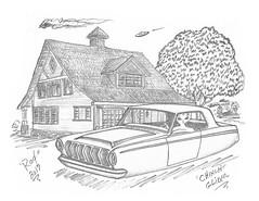 Chinch Glider (rod1691) Tags: bw scifi alien greys custom automotive cars retro space sketch drawing pencil paper original fantasy story funny customcar illistration art
