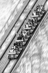 Reto Barrido en blanco y negro -Emociones- (Alyaz7) Tags: nikond7200 lentenikonnikkorafs55300mm14556gdxedvr vr rawquality retobarridoenblancoynegro montañarusa rollercoaster feriadechapultepec ciudaddeméxico méxicocity emociones emotions carnival velocidad speed barrido panning blancoynegro blackandwhite personas people diversión fun gravedad gravity photoshopedit