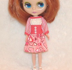 Red/Pink Hearts Medley Peasant Dress OOAK