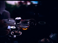 Sunset Tea (callmesubtle) Tags: sunset 120 film tea ceremony slide velvia bronica fujifilm cha gongfu oolong 100f etrsi