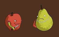 When Apples Go Bad (Iain Burke) Tags: new red brown hot silly art apple june shirt fruit illustration print design graphicdesign necklace juicy clothing arm 5 rich humor bad knife tshirt smug pearls rob purse pear mug shirtdesign iain smirk worm jewelery rotten piece threadless tee teeshirt 2009 core jun threads robber mugger badapple shockvalue roughidea pleaseprint iainburke octopocalypse iainvandoucheberg vandoucheberg