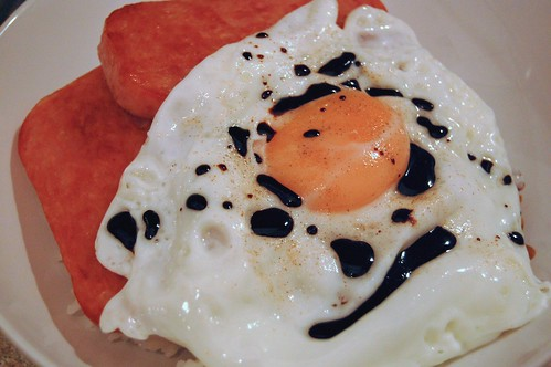 Spam, Egg and Rice with White Pepper and Kecap Manis
