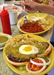 Green Chile Cheeseburger... Soup (Boots in the Oven) Tags: chile travel newmexico santafe breakfast stew restaurant egg meat cheeseburger hamburger brunch nm patty bun greenchile horsemanshaven