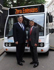 Announcing funding for new electric buses with the Prime Minister