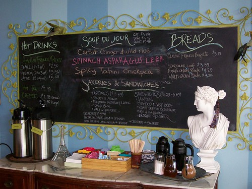 Cafe Food Menu Board at Amelie's, Charlotte NC