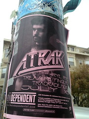 Flyer on Haight Street lamppost for DJ A-Trak gig at The Independent