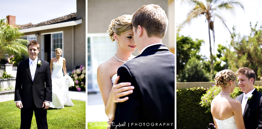 Backyard first glance moment, bellflower wedding photographer