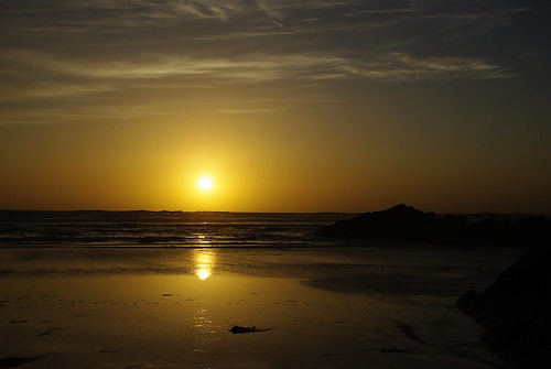 Sunset at Newquay beach