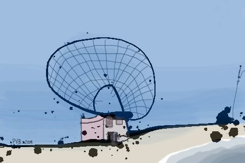 radar station on the beach, fisherman