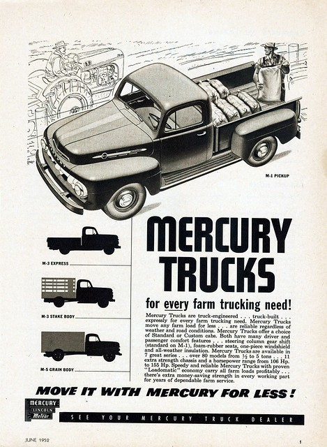 canada mercury ad pickup trucks 1952