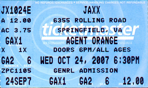 20071024 - Agent Orange ticket stub