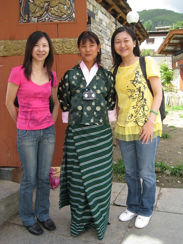 Three Bhutanese women posing for photo