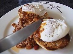 Poached Eggs and Chili Breakfast (NicnBill) Tags: breakfast perfect chili sauce toast egg australia melbourne victoria eggs tabasco carne con champions yolk breakfastofchampions runny poached elsternwick theperfectegg