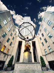 Atlas (Philipp Klinger Photography) Tags: world new york city nyc travel blue windows light vacation sky sculpture usa ny tree green art yellow stone architecture clouds facade america skyscraper gold golden us oscar globe nikon theater theatre manhattan district centre united von center lee atlas states rockefeller avenue amerika 5th philipp 30rock fifth staaten klinger lawrie vereinigte of d700 dcdead vanagram