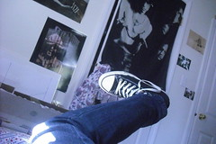 My shoe and Doors' flag/poster thing (mozillais1337) Tags: poster shoes flag leg converse thedoors skinnyjeans