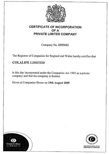 ColaLife Ltd Certificate of Incorporation