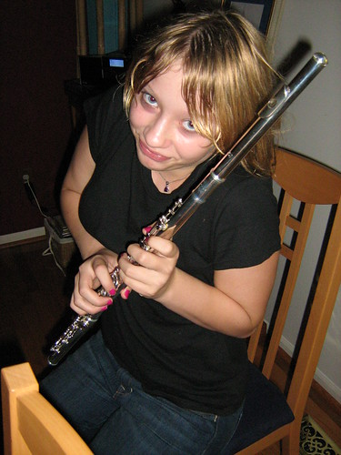 Katherine and her new flute.