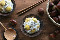 Kuri Gohan (Chestnut Rice) (bananagranola (busy)) Tags: autumn food brown cooking japan japanese healthy rice traditional homemade chestnut japanesefood kuri gohan ricedish mochigome