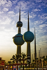 Kuwait Towers (Ebraheem AL Abdulla) Tags: city blue sea sky inspiration tree tower love beautiful beauty clouds canon eos big peace view d air side country towers palm tuesday tall kuwait ruby 450 q8