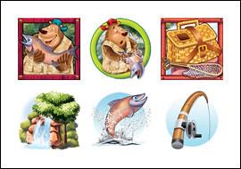 free Bearly Fishing slot game symbols