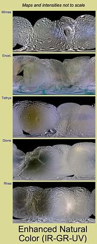 Colores de las lunas de Saturno