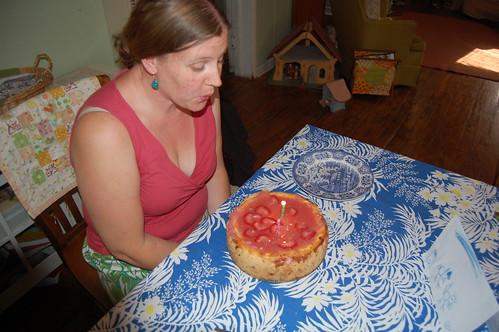 Homemade cheese cake and chicken birthday cards!