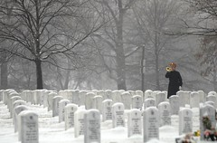 Taps is played on the bugle in the winter snow at Arlington National Cemetery (Beverly & Pack) Tags: winter wallpaper snow arlington soldier army us war uniform vet background military iraq salute formal free honor headstones class taps funeral va creativecommons hero download terror burial arlingtonnationalcemetery horn veteran troops armedforces publicdomain bugle colorguard