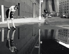 """Dear Mirror"" (Sion Fullana) Tags: portrait urban blackandwhite newyork reflection blancoynegro fashion brooklyn lumix highheels photoshoot dumbo skirt reflejo allrightsreserved sexylegs newyorkers sexygirl reflectioninwater urbanshots urbannewyork panasonicdmcfz50 theunforgettablepictures 1on1reflectionsphotooftheweek sionfullana sionfullanasphotography sionfullana dearmirror whosthesexiestofthemall staringatherownreflection 1on1reflectionsphotooftheweekjune2009"