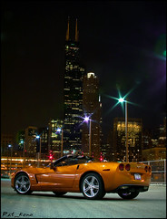 Johnny's Vette (Pat _ kono) Tags: orange chicago night dark lights downtown muscle searstower chii nighttime chevy american midnight sparkly corvette wetpaint vette longfstop willistower patkono