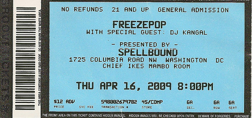 20090416 - Freezepop concert - (by Christian) - ticket stub - 3492392127_c741d2d75b_o