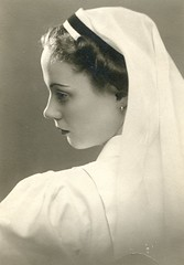 1939. Budapest, Jenny polni uniformisban (elinor04) Tags: portrait woman fashion vintage studio 1930s uniform hungary young style nurse atelier