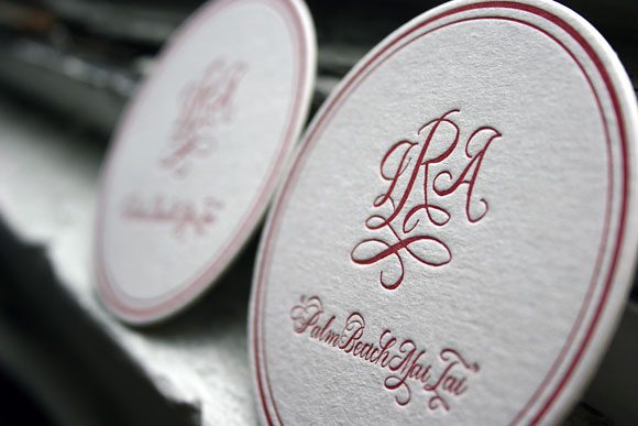 Custom Monogram Letterpress Coaster