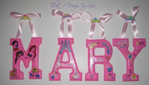 """MARY 6"""" Custom Hand Painted Alphabet Letters with CROWN Accents Push Pins"""