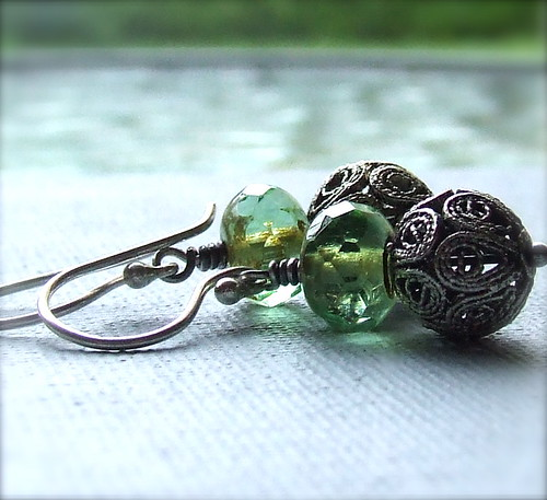 Picasso Green Czech Glass, Silver Filigree and Sterling - Earrings - Lime