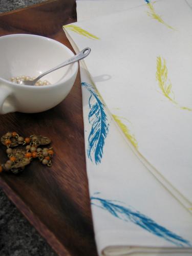 Hammocks & High Tea feathers tea towel 2