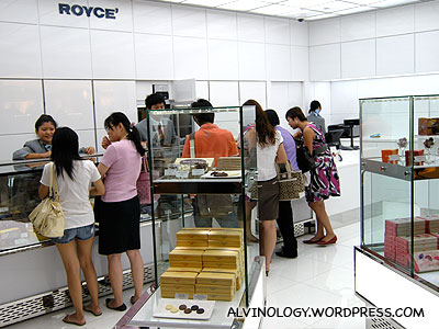 Royce chocolate! The store is not as posh as the one in Japan, but still classy looking
