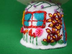 Mushroom Cottage (sunnysidey) Tags: mushroom handmade embroidery cottage felt embroidered embroider swapbot