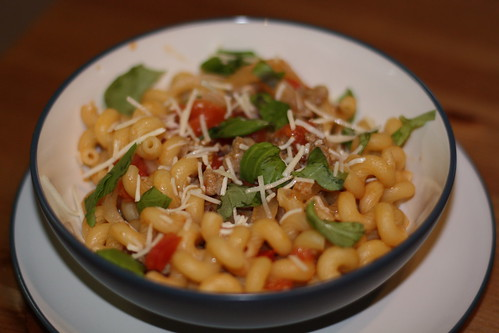 Turkey Sausage Pasta with Fresh Tomato and Basil