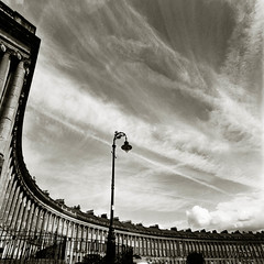 Bath: Scythe (Parcelpacker) Tags: film monochrome bath georgianarchitecture theroyalcrescent bronicasqai id1111 autaut 40mmf4 fp4ratedat125iso