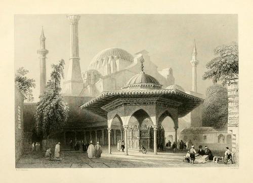 015-Patio y fuente de Santa Sofia-Las bellezas del Bosforo 1838-W.H. Bartlett