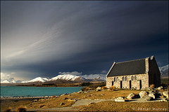 late afternoon light (Daniel Murray (southnz)) Tags: light sunset newzealand cloud mountain lake snow church landscape scenery afternoon good shepherd north basin mackenzie nz southisland tekapo westerly norwest southnz