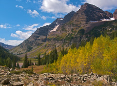 Maroon Bells with Aspens, Colorado (Bryan-Long-Photography) Tags: autumn trees mountain mountains west color fall colors bells climb colorado hiking maroon peak hike climbing capitol clark mountaineering summit elk burst aspen snowmass 14ers buckskin benchmark aspentrees hagerman 13erd